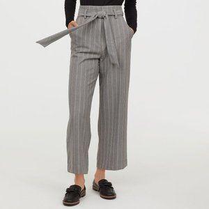 H&M Grey Striped Wide Leg Tie-Waist Pants